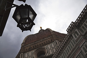 Hanging Light And Building Facade, Florence, Tuscany, Italy
