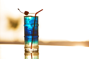 Blue Cocktail With Cherry And A Straw, Caribbean