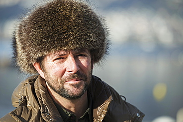 Portrait Of A Man Wearing A Fur Hat, Locarno, Ticino, Switzerland