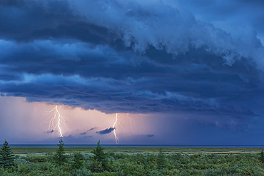 Double Lightning Strike During A Thunderstorm Over Hudson Bay, Manitoba, Canada