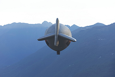 View Of A Blimp In The Sky, Locarno, Ticino, Switzerland