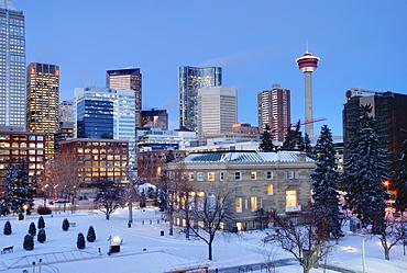 Winter Scene Of A City Plaza At Dusk, Calgary, Alberta, Canada