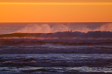 Wind Across Crest Of Waves At Sunset, Golden Gate National Recreation Area, San Francisco, California, United States Of America