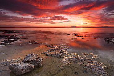 Dramatic Sunrise At Cave Point With Brilliant Colours, Wisconsin, United States Of America