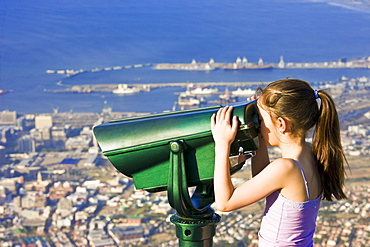 Tourist Looking Through Binoculars At Cape Town, Table Mountain, South Africa