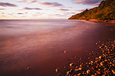 Mist Over The Water Of Lake Michigan At Sunrise, Wisconsin, United States Of America