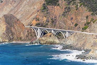Big Creek Bridge From California Route 1 On The Big Sur Coast, Big Sur, California, United States Of America