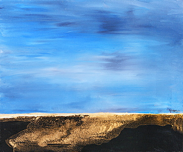 Painting Of Brown Land Meeting Blue Sky