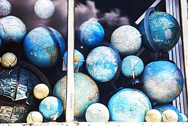 Globes In Window Display, Amsterdam, Netherlands