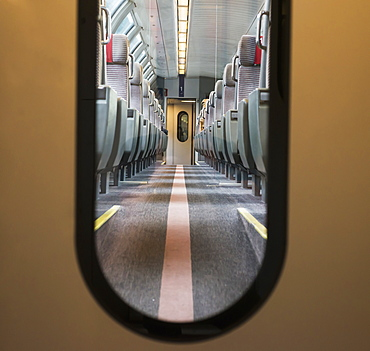 View Of Seating In A Train Through The Window In A Door, Locarno, Ticino, Switzerland