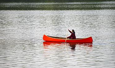 Girl In An Orange Canoe, Ontario, Canada