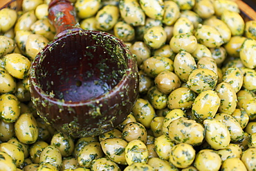 Green Olives For Sale At Borough Market, London, England