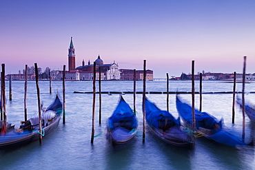 Boats Mooring In The Water At Dusk, Venice, Italy