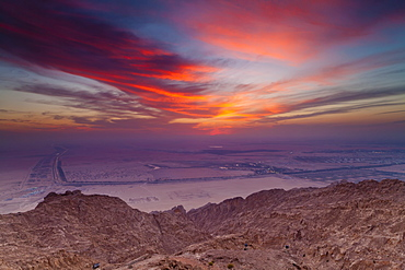 The View From The Mercure Hotel At The Top Of Jebel Hafeet Mountain, Al Ain, Abu Dhabi, United Arab Emirates