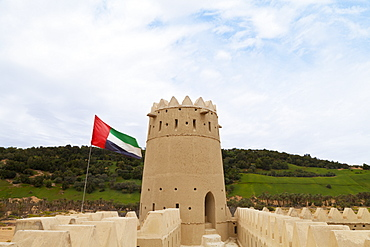 Mezaira Fort And Uae Flag, Liwa Oasis, Abu Dhabi, United Arab Emirates