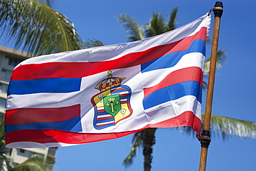 A Flag Flying With The Hawaiian Royal Seal, Oahu, Hawaii, United States Of America