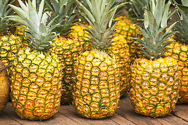 Pineapples For Sale At A Local Roadside Fruit Stand On The North Shore, Oahu, Hawaii, United States Of America