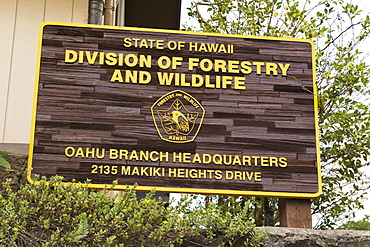 State Of Hawaii Division Of Forestry And Wildlife Headquarters At Makiki Loop Trail, Oahu, Hawaii, United States Of America
