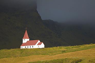 Isolated Church On A Hill, Vik, Vestur-Skaftafellssysla, Iceland