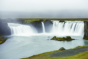 Godafoss Waterfall In The Rain, Waterfalls Of The Gods, Fossholl, Myvatn, Iceland