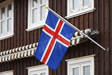 Icelandic Flag On A House, Stykisholmur, Snaefellsnes, Iceland
