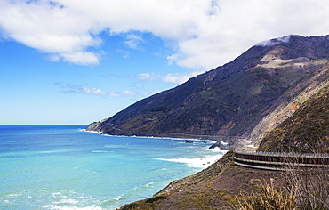 A Part Of The Scenic Route 1 Heading To Big Sur, California, United States Of America