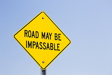 Close Up Of Impassable Road Sign With Blue Sky, Alberta, Canada