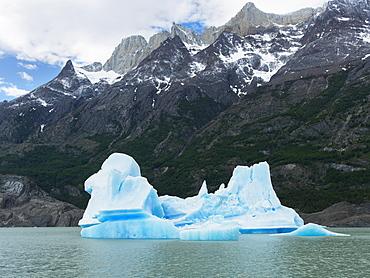 Grey Lake And Grey Glacier, Torres Del Paine National Park, Torres Del Paine, Magallanes And Antartica Chilena Region, Chile