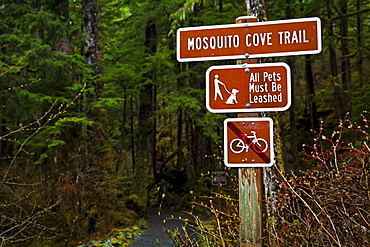 Mosquito Cove Trail Sign, Starrigavan Recreation Area, Sitka, Alaska, United States Of America