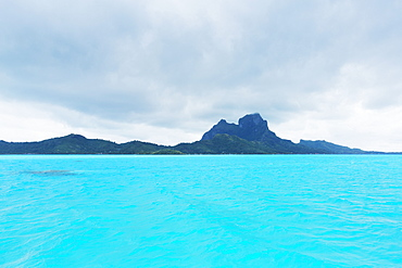Lagoon In Bora Bora On Stormy Day, With View Of Ute Manu Mountain, Bora Bora, French Polynesia