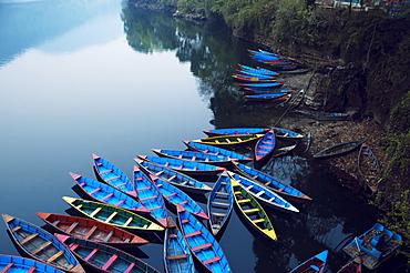 Boats In The Famous Pokhara Lake, Pokhara, Nepal