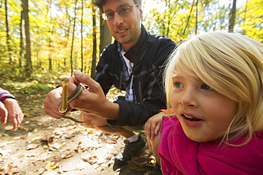 Young Girl Is Fascinated By A Garter Snake Held By Her Father, Ontario, Canada
