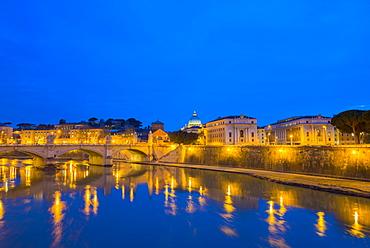 River Tiber In Vatican City, Rome, Lazio, Italy