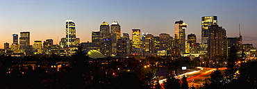 Panoramic Night Scene Of The Skyline Of Calgary, Calgary, Alberta, Canada