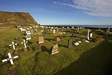 View Of A Graveyard Showing The Atlantic Ocean In The Background, Vik, Iceland
