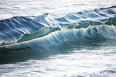 Hawaii, Oahu, Close Up Af A Beautiful, Blue, Sunlit Wave.