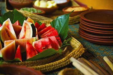 Slices Of Watermelon On A Plate, Ulpotha, Embogama, Sri Lanka