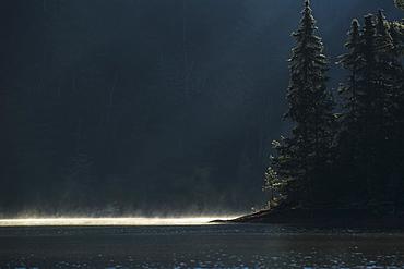 Sunlight Illuminates The Mist Coming Off The Lake At Sunrise, Ontario, Canada
