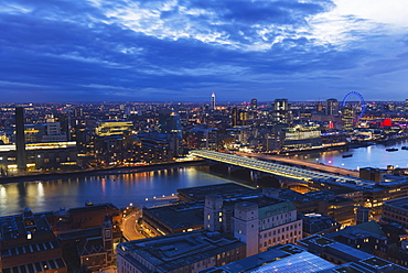 View Over The River Thames, Tate Modern And London Eye Wheel At Dusk, London, England