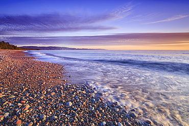 Pebble Beach On Lake Superior At Dusk, Agawa Bay, Lake Superior Provincial Park, Ontario, Canada