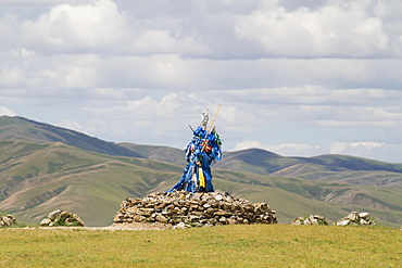 Ovoo With Prayer Flags, Karakorum (Kharkhorin), Övörkhangai Province, Mongolia