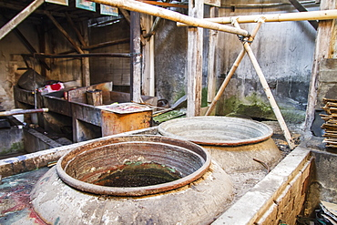 Vats Used To Dye Batik Fabrics At Gunawan Setiawan Batik Shop, Kampung Kauman, Surakarta (Solo), Central Java, Indonesia