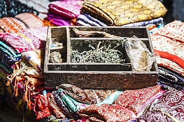 Balinese Fabrics For Sale In A Store, Tenganan Pegringsingan, Bali, Natural Dyes And Indonesia