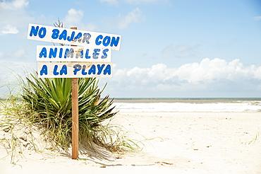 Sign Prohibiting Animals On The Beach, Valizas, Uruguay