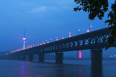 Wuhan Bridge And Yangtze River, Wuhan, Hubei Province, China