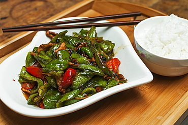 Typical Chinese Green Pepper And Pork Called Huiguorou, Wuhan, Hubei Province, China
