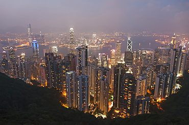 View From Victoria Peak Of The Island Of Hong Kong At Night, Hong Kong, China