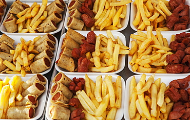 Fried Food Such As Wieners And Fries For Sale At A Stand, Puerto Vallarta, Jalisco, Mexico