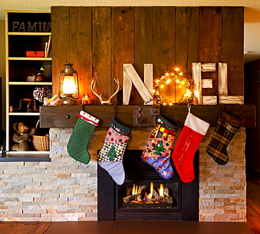 Christmas Decor Around The Fireplace In A Home, Yarrow, British Columbia, Canda