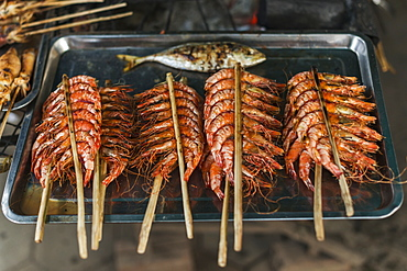 Some Sticks With Shrimp From Famous Crab Market Of Kep, Kep, Cambodia